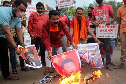 Protest against China in Bhopal