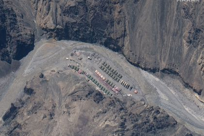 Maxar WorldView-3 satellite image shows the PLA (China's People's Liberation Army) Base in Galwan Valley
