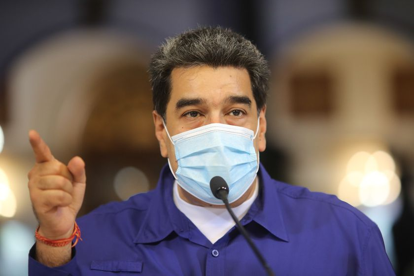 Caracas (Venezuela), 11/10/2020.- A handout photo made available by the Miraflores Palace Press office that shows Venezuelan President Nicolas Maduro while offering statements in Caracas, Venezuela, 11 October 2020. According to media reports, Maduro assured that a Chinese vaccine for the COVID-19 disease will arrive in the Caribbean country 'in the next few days' for phase three of tests, in which 'thousands of volunteers' will participate, although he did not detail which one is of the four that are being developed in Chinese territory. (Estados Unidos) EFE/EPA/Miraflores Press / HANDOUT HANDOUT EDITORIAL USE ONLY/NO SALES