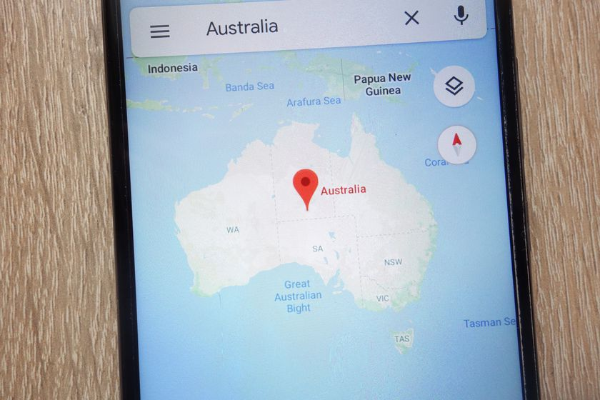 Australia location on Google Maps displayed on a modern smartphone