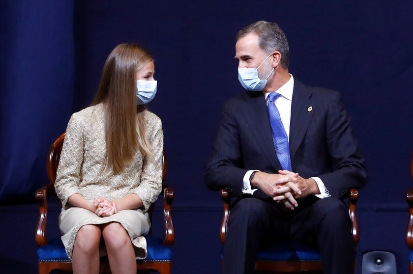 Spain's Crown Princess Leonor (L) and King Felipe VI during the delivery of Princess of Asturias Awards 2020, in Oviedo, on Friday 16 October 2020.