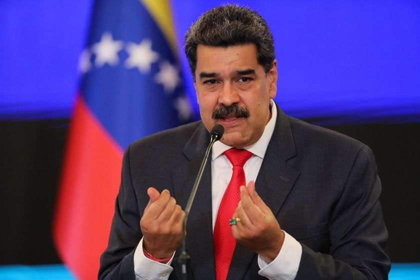 FILE PHOTO: Venezuelan President Nicolas Maduro gestures as he speaks during a press conference following the ruling Socialist Party's victory in legislative elections that were boycotted by the opposition in Caracas, Venezuela December 8, 2020. REUTERS/Manaure Quintero/File Photo