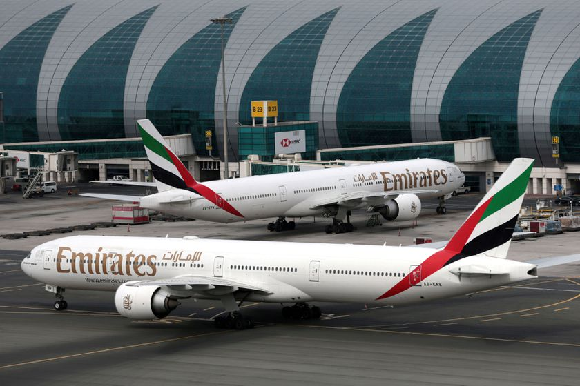 FILE PHOTO: Emirates Airline Boeing 777 planes at are seen Dubai International Airport in Dubai