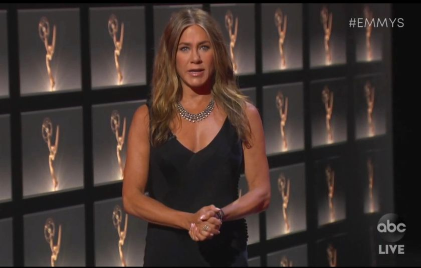 In this video grab captured on Sept. 20, 2020, courtesy of the Academy of Television Arts & Sciences and ABC Entertainment, Jennifer Aniston presents the award for outstanding lead actress in a comedy series during the 72nd Emmy Awards broadcast. (The Television Academy and ABC Entertainment via AP)