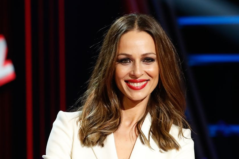 """Former miss and presenter Eva Gonzalez during the presentation of the new edition of the program """" La Voz """" in Madrid on Wednesday 29 January 2020."""