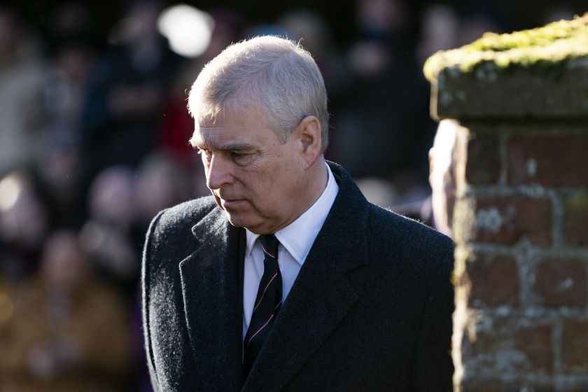 Britain's Prince Andrew, Duke of York arrives for a church service with Queen Elizabeth II (unseen) at St Mary the Virgin in Hillington, Norfolk, Britain.