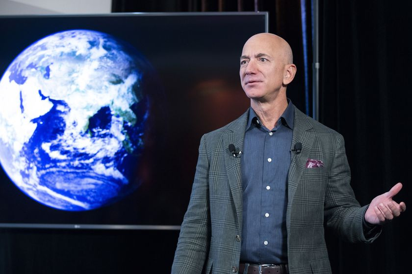 Washington (United States).- (FILE) - Founder and CEO of Amazon Jeff Bezos participates in the unveiling of an Amazon environmental initiative entitled 'The Climate Pledge', in Washington, DC, USA, 19 September 2019 (reissued 07 June 2021). Outgoing Amazon CEO Jeff Bezos via social media on 07 June 2021 announced he and his brother will be on Bezos's space company Blue Origin's first crewed space flight. The lflight is scheduled for 20 July 2021. (Estados Unidos) EFE/EPA/MICHAEL REYNOLDS *** Local Caption *** 56666667