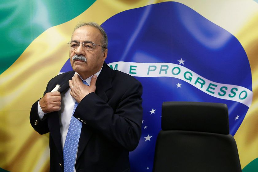 Brazil's Senator Chico Rodrigues reacts during a meeting with Brazilian Federal Deputy Eduardo Bolsonaro (not pictured) at the Federal Senate in Brasilia, Brazil August 9, 2019. Picture taken August 9, 2019. REUTERS/Adriano Machado