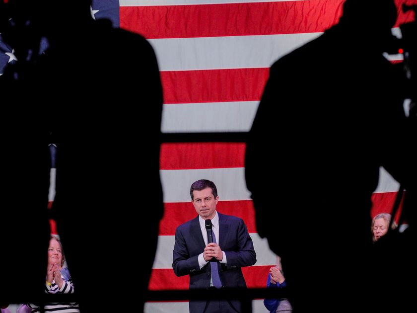 Democratic presidential candidate and former South Bend, Indiana mayor Pete Buttigieg, speaks during a campaign event in  Concord, New Hampshire