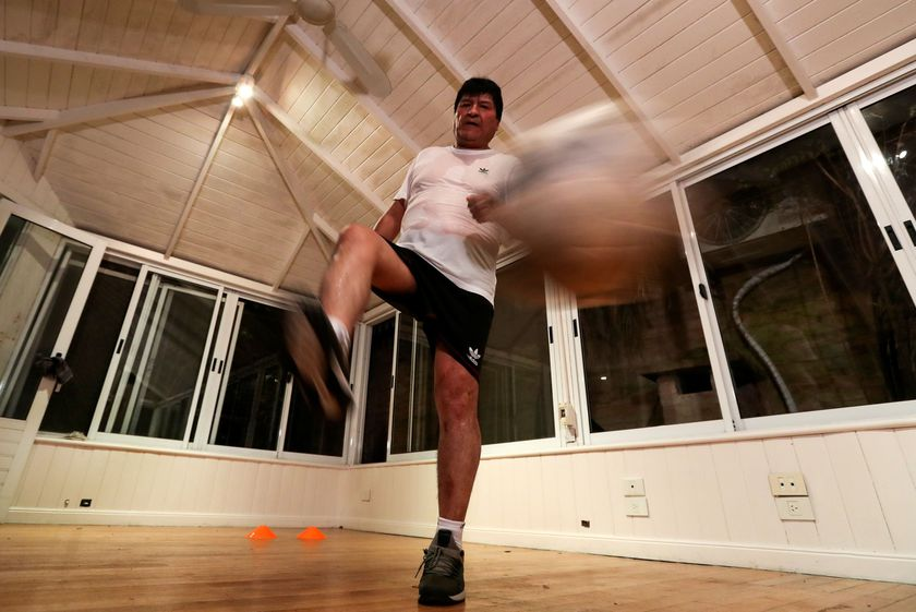Former Bolivian President Evo Morales exercises at his home, in Buenos Aires