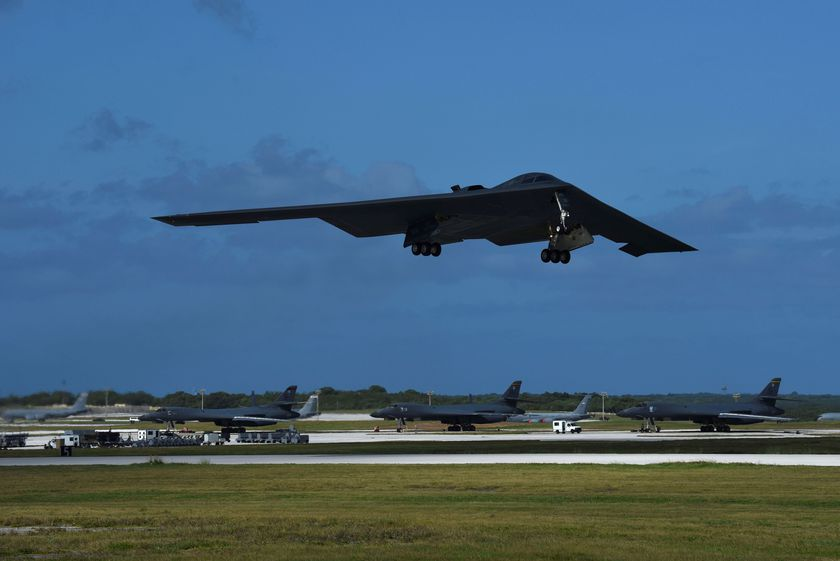 A U.S. Air Force B-2 Spirit bomber takes off from Andersen Air Force Base, Guam