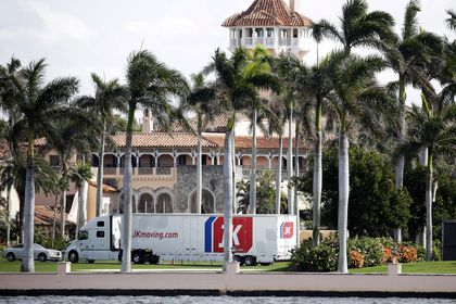 A moving truck is parked outside Mar-a-Lago in Palm Beach, Fla., on Monday, Jan. 18, 2021. President Donald Trump is expected to return to his residence on Wednesday, Jan. 20. (AP Photo/Terry Renna)