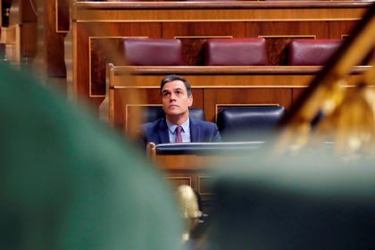 Spanish PM Sanchez attends a control session on coronavirus disease (COVID-19) at the Parliament in Madrid