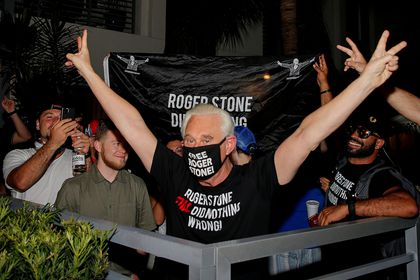 Roger Stone reacts after Trump commuted his federal prison sentence in Fort Lauderdale