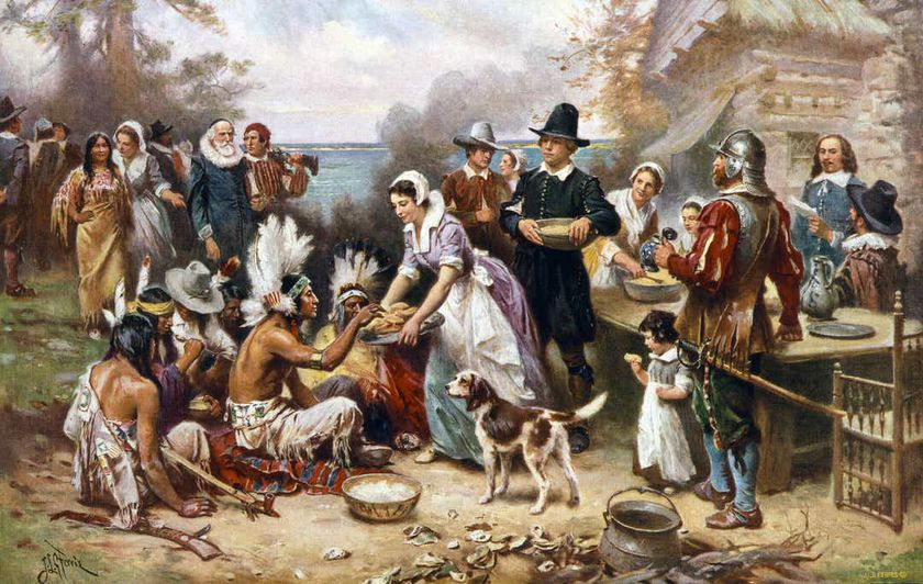 Jean Leon Gerome Ferris: The First Thanksgiving, 1621 Library of Congress