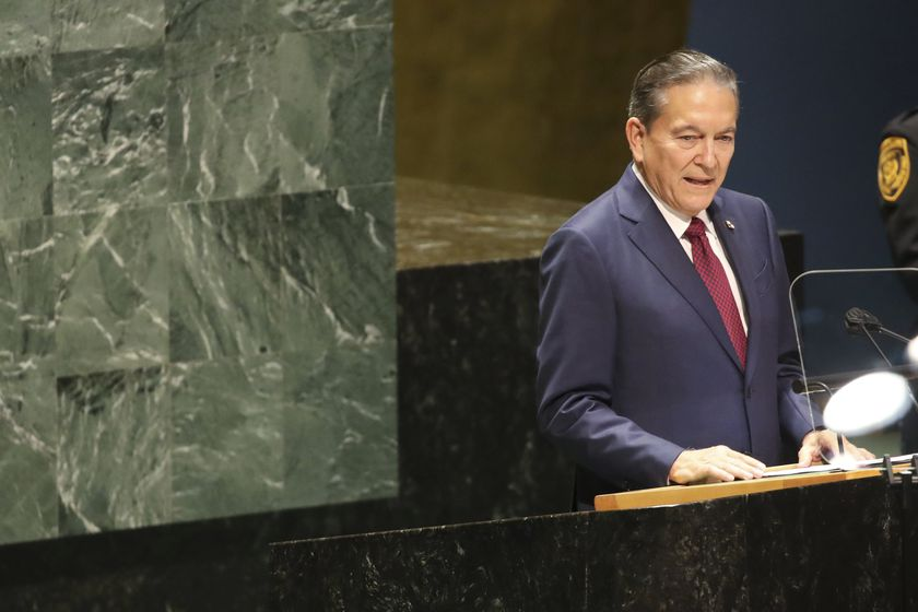The President of Panama, Laurentino Cortizo addresses the 76th Session of the U.N. General Assembly at United Nations headquarters in New York, on Thursday, Sept. 23, 2021. (Spencer Platt/Pool Photo via AP)