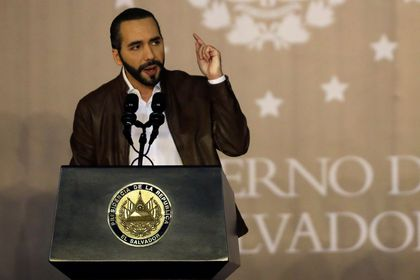 El Salvador's President Nayib Bukele speaks at a promotion ceremony from policemen to corporals in San Salvador, El Salvador September 30, 2020. Picture taken September 30, 2020. REUTERS/Jose Cabezas