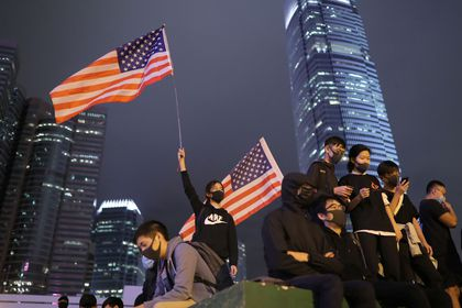 Protestors attend a gathering at the Edinburgh place in Hong Kong