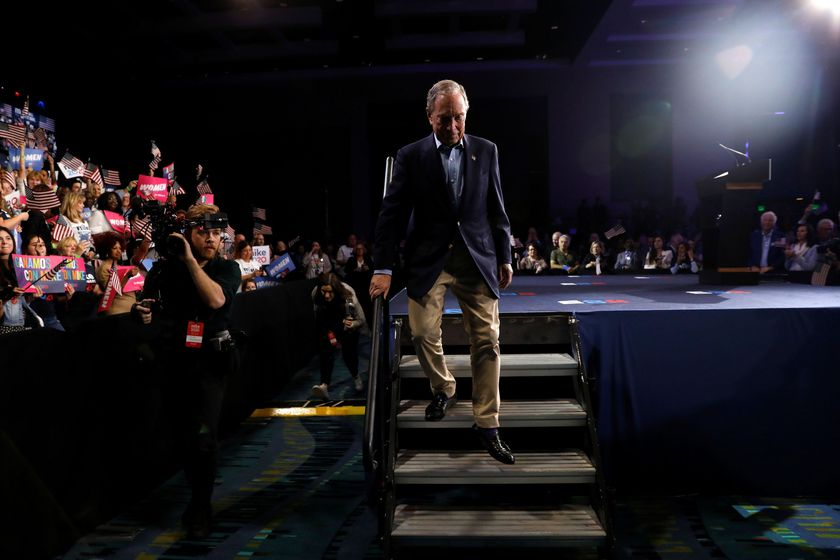 Democratic U.S. presidential candidate Michael Bloomberg departs after speaking at his Super Tuesday night rally in West Palm Beach, Florida, U.S.