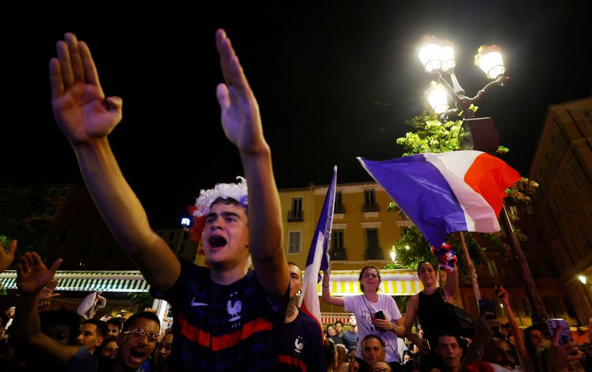 France fans celebrate after watching the UEFA EURO 2020 France vs Germany match on a screen, in Nice, France, June 15, 2021.