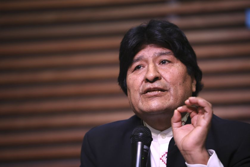 FILE - In this Feb. 21, 2020 file photo, Bolivia's ousted, former President Evo Morales gives a press conference regarding the rejection of his plan to run for Senator in Buenos Aires, where he is living, in Argentina. On Monday, Sept. 7, 2020, a Bolivian court blocked Morales from seeking a senate seat in the country's October elections, arguing that the ex-leader, living in Argentina, doesn't meet residency requirements. (AP Photo/Natacha Pisarenko, File)