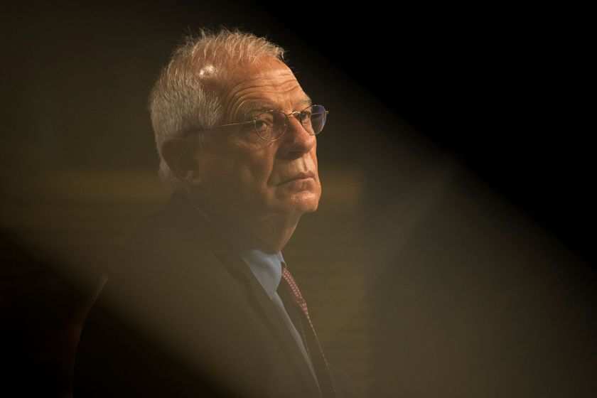 European High Representative of the Union for Foreign Affairs, Josep Borrell attends a joint online news conference at EU headquarters in Brussels