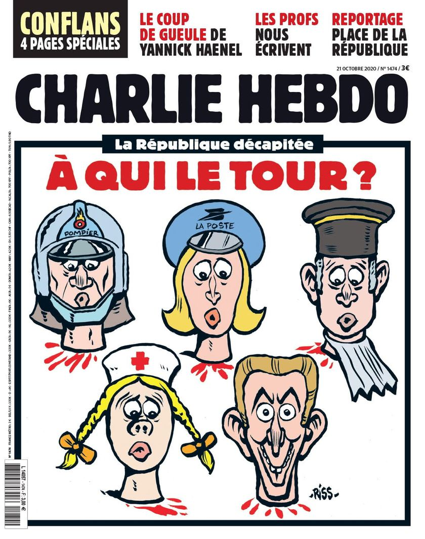 Paris (France), 01/09/2020.- A handout photo made available by the Majorelle PR Agency on 20 October 2020 shows the cover of the issue of French satirical weekly Charlie Hebdo with the title 'Republic beheaded. Who's next?'. The satirical weekly Charlie Hebdo publishes this cartoon by Riss showing heads of a fireman, a postwoman, a judge, a nurse and Emmanuel Macron, sereval days after the murder of Samuel Paty on 16 October 2020. (Atentado, Incendio, Francia) EFE/EPA/CHARLIE HEBDO HANDOUT HANDOUT EDITORIAL USE ONLY/NO SALES *** Local Caption *** 56311961