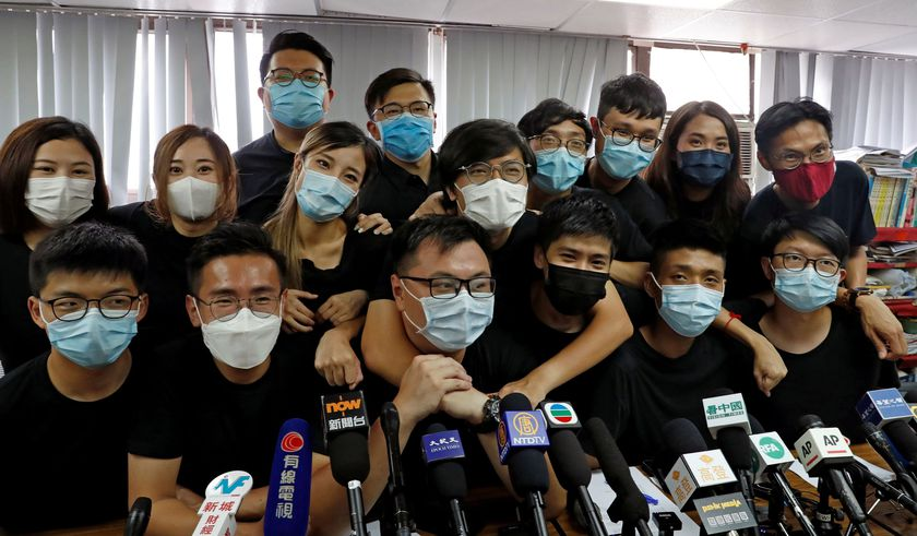 """FILE PHOTO: Young Hong Kong democrats from the so-called """"resistance"""" or localists camp attend a news conference after pre-election in Hong Kong"""