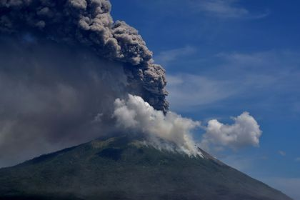 An eruption of Mount Ile Lewotolok is seen in Lembata, East Nusa Tenggara Province, Indonesia November 29, 2020. in this photo taken by Antara Foto/Aken Udjan via Reuters. ATTENTION EDITORS - THIS IMAGE WAS PROVIDED BY THIRD PARTY. MANDATORY CREDIT. INDONESIA OUT.