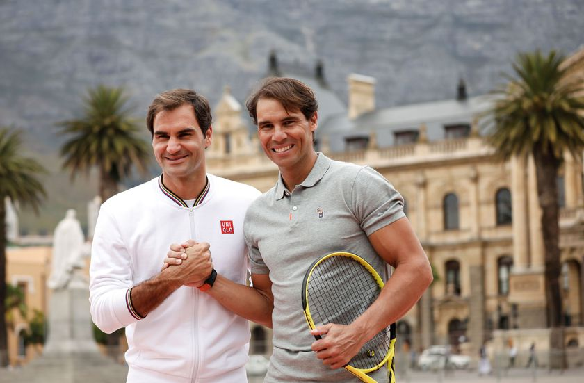 "FILE PHOTO: Roger Federer and Rafael Nadal ahead of their ""Match in Africa"" exhibition tennis match in Cape Town"