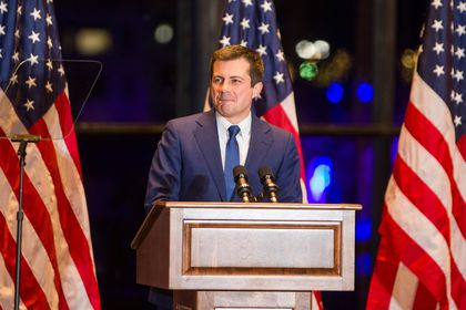 Democratic U.S. presidential candidate Pete Buttigieg announces his withdrawal from the 2020 U.S. presidential race during event in South Bend, Indiana