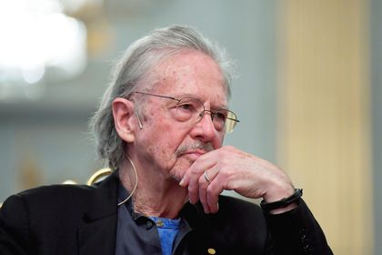 Nobel Prize in Literature laureate Peter Handke attends a news conference at the Swedish Academy in Stockholm
