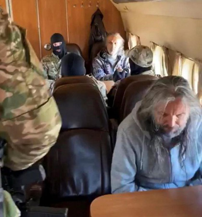 """A view shows Russian security forces' members during the detention of leaders of the """"Church of the Last Testament"""" sect, including prominent mystic Sergei Torop also known as Vissarion, in Krasnoyarsk Region, Russia, in this photograph released by Russia's Investigative Committee September 22, 2020. Investigative Committee of Russia/Handout via REUTERS  ATTENTION EDITORS - THIS IMAGE HAS BEEN SUPPLIED BY A THIRD PARTY. NO RESALES. NO ARCHIVES. MANDATORY CREDIT."""