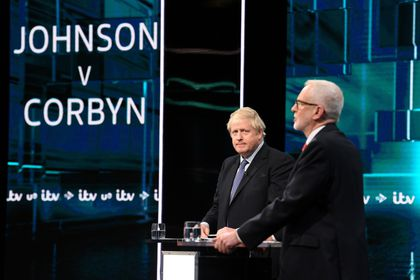 First televised head to head debate between Johnson and Corbyn ahead of election