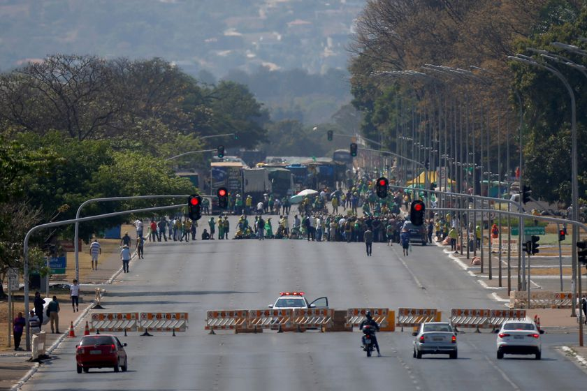A road blocked in order to prevent access to the Supreme Federal Court headquarters is seen, as supporters of Brazilian President Jair Bolsonaro gather during a protest in Brasilia, Brazil September 9, 2021. REUTERS/Adriano Machado