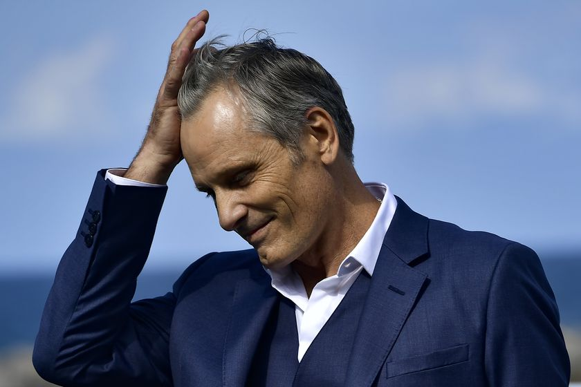 """US actor and film director Viggo Mortensen, smiles during the photocall to promotes his film """"Falling"""" and before receiving the Donostia Award during the 68th San Sebastian Film Festival, in San Sebastian."""