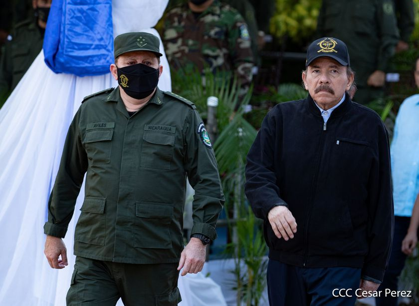Nicaragua's President Daniel Ortega attends a ceremony to mark the 41st anniversary of the Nicaraguan Army, in Managua