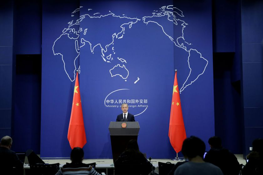 Chinese Foreign Ministry spokesman Wang Wenbin speaks during a news conference in Beijing, China November 9, 2020. REUTERS/Tingshu Wang