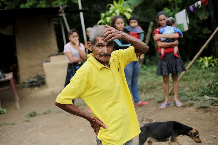 Felix Lara Rodriguez, father of late Honduran migrant Felix Enrique Lara, who died after falling from a trailer and getting trapped under its wheels while taking part in a migrant caravan towards the U.S., gestures at his home in San Antonio del Peru, Honduras October 2, 2020. REUTERS/Jorge Cabrera