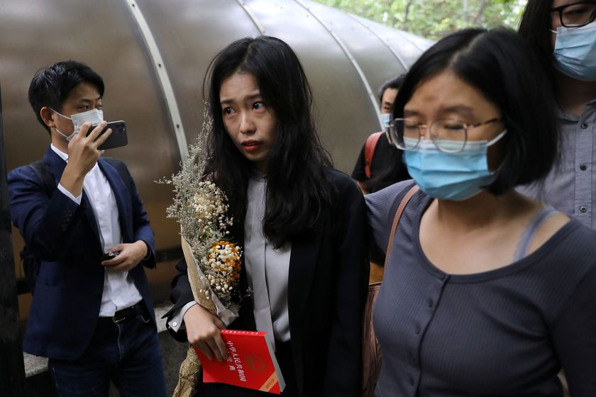 Zhou Xiaoxuan, also known by her online name Xianzi, arrives at a court for a sexual harassment case involving a Chinese state TV host, in Beijing, China September 14, 2021. REUTERS/Tingshu Wang