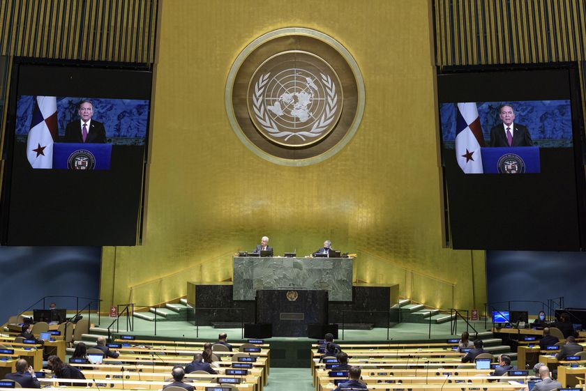 New York (United States), 23/09/2020.- A handout photo made available by the United Nations (UN) shows President of Panama, Laurentino Cortizo speaking on screen during the 75th General Assembly of the United Nations, in New York, New York, USA, 23 September 2020. Due to the COVID-19 pandemic, the 75th General Assembly of the United Nations meetings are held mostly via videoconference. (Estados Unidos, Nueva York) EFE/EPA/Manuel Elías / UN PHOTO HANDOUT HANDOUT EDITORIAL USE ONLY/NO SALES
