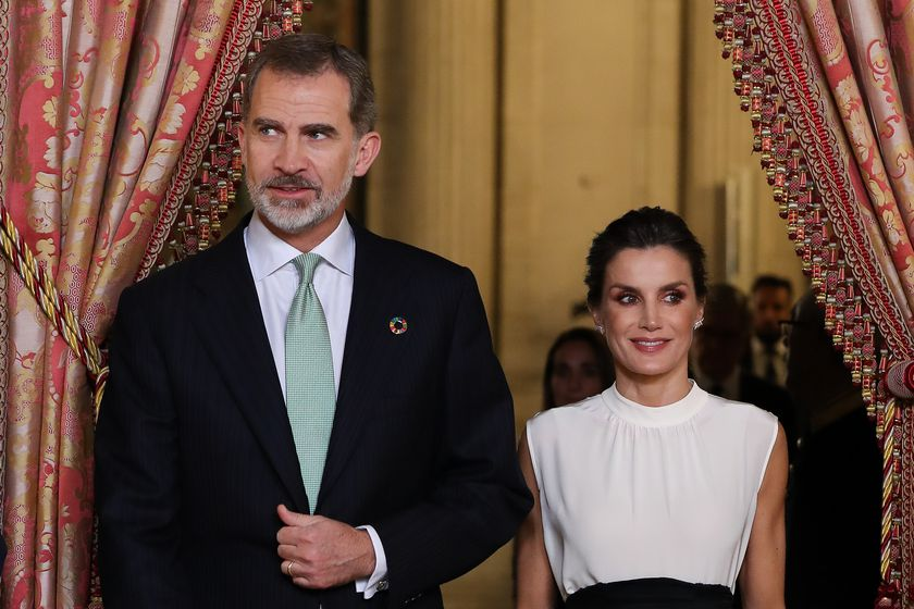 Spanish Kings Felipe VI and Letizia Ortiz during ceremonial reception for COP25 UN Climate Change participants at ZarzuelaPalace in Madrid on Monday, 02 December 2019.