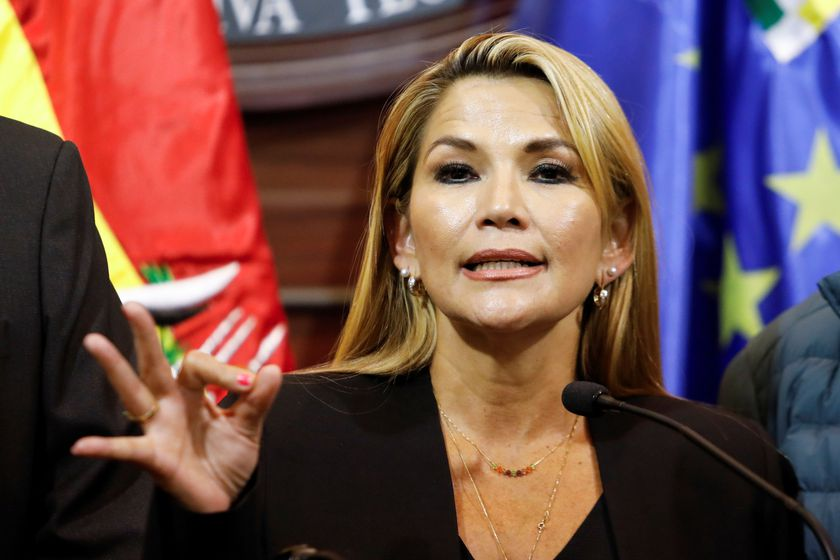 Bolivian opposition leader and senator Jeanine Anez Chavez speaks during a news conference following Bolivia's former president Evo Morales' exit out of the country, in La Paz