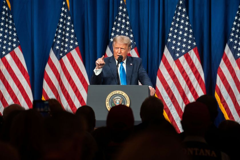 U.S. President Donald Trump speaks at the Republican National Convention in Charlotte