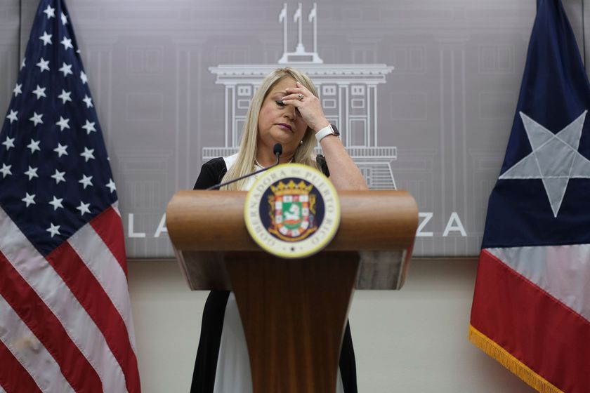 Puerto Rico's Governor Wanda Vazquez reacts during a news conference in San Juan