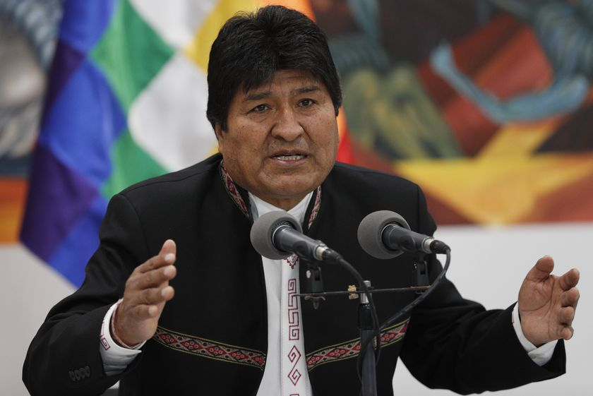 Bolivia's President Evo Morales speaks during a press conference at the presidential palace in La Paz, Bolivia, Wednesday, Oct. 23, 2019. International election monitors expressed concern over Bolivia's presidential election process Tuesday after an oddly delayed official quick count showed President Morales near an outright first-round victory — even as a more formal tally tended to show him heading for a risky runoff. (AP Photo/Juan Karita)