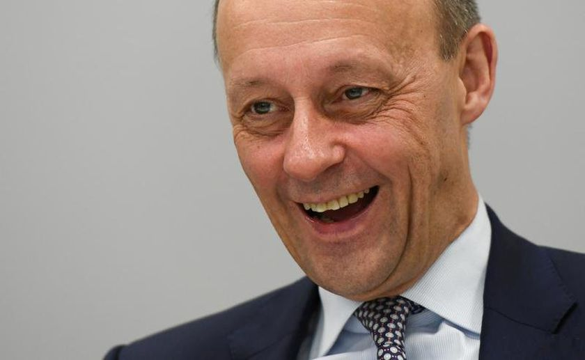 FILE PHOTO: CDU politician Friedrich Merz speaks during an interview with Reuters in Berlin