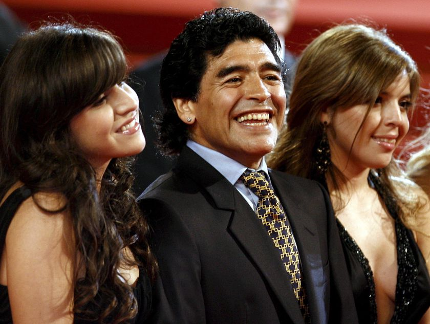 Cannes (France), 21/05/2008.- (FILE) - Argentinian soccer legend Diego Maradona (C) and his daughters Dalma (R) and Giannina (L) arrive for the gala screening of the documentary 'Maradona' running out of competition at the 61st edition of the Cannes Film Festival in Cannes, France, 20 May 2008 (re-issued on 25 November 2020). Diego Maradona has died after a heart attack, media reports claimed on 25 November 2020. The Argentine soccer great was among the best players ever and who led his country to the 1986 World Cup title before later struggling with cocaine use and obesity. He was 60. (Atentado, Cine, Mundial de Fútbol, Francia) EFE/EPA/GUILLAUME HORCAJUELO