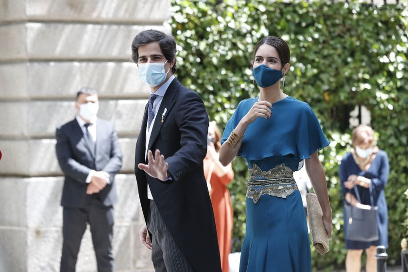 Fernando Fitz James and Sofia Palazuelo during the wedding of Carlos Fitz James Stuart y Solis and Belen Corsini in Madrid on Saturday, 22 May 2021