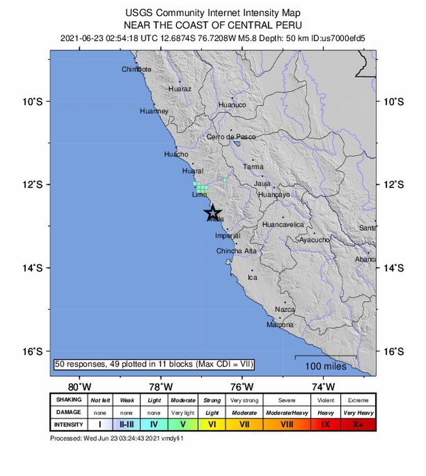 Mala (Peru), 22/06/2021.- A handout shakemap made available by the United States Geological Survey (USGS) shows the location of a 5.8-magnitude earthquake off the coast of Mala, south of Lima, Peru, late 22 June 2021 (issued 23 June 2021). (Terremoto/sismo, Estados Unidos) EFE/EPA/USGS HANDOUT HANDOUT EDITORIAL USE ONLY/NO SALES